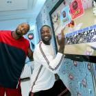 Dwyane Wade (right) was very excited to beat Alonzo Mourning in a virtual bowling matchup for charity this past Wednesday.