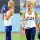 Nicolette Sheridan got to throw out the first pitch before Monday's game between the Dodgers and Giants in L.A., professing her love for a certain manager in the process.