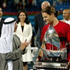 With his 4-6, 6-1, 6-2 victory over Feliciano López at the Dubai Tennis Championships, Federer nabbed his first ATP singles title as the world's top-ranked player.
