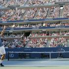 Federer defeated Andre Agassi in four sets to clinch his second consecutive U.S. Open title. He dropped just two sets on his way to the title and became the first man in the open era to win Wimbledon and the U.S. Open in consecutive years.