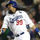 In his first at-bat with the Dodgers, Manny Ramirez grounded out to short.