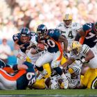 Terrell Davis led the Wild Card Broncos and John Elway to their first Super Bowl win with 157 rushing yards and a Super Bowl-record three touchdowns.
