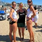 """Amanda Beard (center) participated in a charity beach volleyball tournament last weekend, in which she joined Suzanne Stonebarger (left) and Michelle More to form """"Team Gorgeous."""""""
