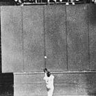 Center fielder Willie Mays makes 'The Catch', a spectacular over-the-shoulder grab, robbing Vic Wertz of an extra hit. The Giants, thanks to pinch-hitter Dusty Rhodes home run, beat the Indians 5-2 in Game 1 of the World Series.
