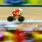 Kuidong Zhang of China in the time trial track cycling event.