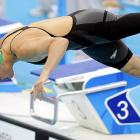South Africa's Natalie du Toit in a heat of the 100 meter freestyle.