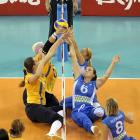 Ukraine and Slovenia compete in the women's sitting volleyball preliminary match. Slovenia won 3-1.