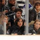 "Cast members from the new ""90210,"" (from left to right on bottom) Shenae Grimes, Jessica Stroup, Dustin Miligan and (top right) Tristan Wilds attended the Los Angeles Kings' home opener against the San Jose Sharks last Sunday."