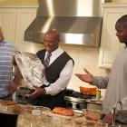 """New York Jets offensive lineman Nick Mangold (left) and D'Brickashaw Ferguson (right) cooked with the host of Food Network's """"Big Daddy's House,"""" Aaron McCargo, Jr. in Mangold's kitchen for a spot to air on YES network's """"SportsLife NYC."""""""