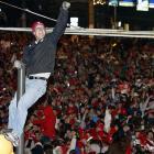 When your team wins a World Series, you climb a traffic pole.
