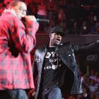 """LeBron James joined Jay-Z on stage at the  """"Last Chance For Change"""" concert for Barack Obama at the Quicken Loans Arena on Wednesday in Cleveland."""