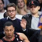 We can only wonder what Leonardo DiCaprio and Entourage's Kevin Connelly were looking at during Tuesday's Blazers-Lakers game.