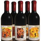 """""""In an undated artist's rendering provided by Carivintas Winery, bottles of Vicktory Dogs wine with portraits of pit bulls rescued from Michael Vick's dogfighting operation are shown. The Vicktory Dogs wine collection features colorful portraits of 22 dogs confiscated from Vick's Bad Newz Kennels that now live at Best Friends Animal Sanctuary in southern Utah. The portraits were painted by Cyrus Mejia."""" -- AP"""
