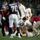 Redskins quarterback Joe Theismann's playing career comes to an end when his leg is broken on a sack by  Giants linebacker Lawrence Taylor.