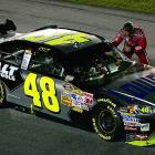 """Carl Edwards congratulated Johnson after the race. """"At least we can lay our heads down tonight and know we won some races and just got beaten by a true champion,"""" Edwards said."""
