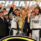Shown here with his wife and his Hendrick Motorsports team, Johnson won more than $2 million in the 10 Chase races this year. Yarborough earned a combined $1.63 million in all three of his championship seasons ('76-78).