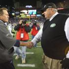 "After the Jets fired Mangini, the team hired the outspoken Rex Ryan to replace him. Ryan immediately embraced the rivalry, appearing on New York radio and saying, ""I never came here to kiss Bill Belichick's, you know, rings. I came to win.  Let's just put it that way.  So we'll see what happens.  I'm certainly not intimidated by New England or anybody else."" In the three games the teams have played since Ryan was hired, the Jets have won two of them."