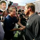 The rivalry hit a new level after the first week of the 2007 season, when New York accused New England of illegally videotaping the Jets' defensive coaches' signals. The incident, better known as Spygate, cast doubts on the Patriots three Super Bowl victories and permanently tarnished Belichick's legacy. For the infraction, the NFL fined the Patriots coach $500,000, fined the team $250,000 and forced the Patriots to surrender their 2008 first-round draft choice.  In 2008, former Patriots video assistant Matt Walsh (inset) sent eight videotapes containing opponents' coaches' signals from the 2000 through 2002 seasons to commissioner Roger Goodell.