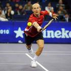 The fourth-seeded Russian was challenged before emerging with a 6-7 (6-8), 6-4, 7-6 (7-0) triumph over sixth-seeded Tsonga.