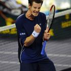 Andy Murray reacts during his round robin match against Gilles Simon.