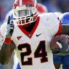 Knowshon Moreno ran for 123 yards and three scores as Georgia survived a major scare from Kentucky. Matthew Stafford threw the go-ahead touchdown to A.J. Green with 1:54 remaining.
