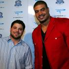 """Sidelined Charger Shawne Merriman hung out with """"Entourage's"""" Jerry Ferrara, who plays Turtle, on Monday at the linebacker's third annual Lights On Foundation bowling event."""