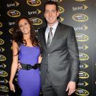 Kyle Bush and Samantha Sarcinella attend the Sprint Champion's Celebration in New York City on Thursday.