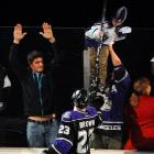 The Kings' Dustin Brown made this young fan's night by giving the kid his stick.