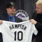 The Rockies announce the signing of free-agent starting pitcher Mike Hampton to the richest contract in baseball history, a $121 million, eight-year deal. The southpaw would compile a 21-28 during his two-year tenure with Colorado before going to the Braves in 2003.