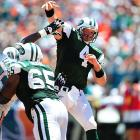 In Brett Favre's first game as a Jet against the Dolphins and former Jets QB Chad Pennington, the former Packers great threw for two scores in a 20-14 New York victory. Pennington's red-zone interception late in the fourth quarter sealed the game for the Jets.