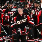 The team's revamped Senator (inset), facing front and looking perhaps a little too lifelike, has its detractors. The real crime with this third is that he's been lazily replaced by . . . Sens? Come on. And like so many third jerseys, it comes in any color you like -- as long as it's black.