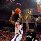 If the Tar Heel faithful aren't enough motivation to top the hot Tigers, here might be a factoid for Tyler Hansbrough and company to keep in mind:  If Clemson wins, the Tigers move to third place in the ACC while the Heels fall to seventh in the conference.  Trevor Booker, pictured, is averaging nine rebounds a game for the Clemson.