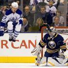 Toronto Maple Leafs left winger Alexei Ponikarovsky showed some impressive jumping skills during Thursday's game against Buffalo.