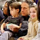 With that intense look on his face, you'd think Jon Stewart was watching a Presidential debate. But he was just taking in last Sunday's Knicks game with his son.