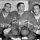 """(Left to right) Forwards Dave Balon, Dick Duff and Yvan """"Road Runner"""" Cournoyer celebrated Lord Stanley's return to Montreal in 1965 after the Habs edged the Blackhawks in a seven-game final. The following season, the trio would enjoy a repeat after Henri Richard scored in overtime of Game 6 against Detroit."""