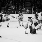With Toe Blake now behind the bench, the Canadiens launched a record-setting dynasty. Backstopped by Jacques Plante, the Habs won the first of five successive Cups by dusting Detroit in the final, four games to one.