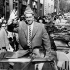The victory parade became an annual event in Montreal during the late 1950s. Here, Jean Beliveau takes a little ride through town after winning the Cup in 1956.