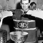 Rocket Richard poured the bubbly after the Habs ousted the Bruins in five games in the 1957 final. Richard torched the Bs for four goals in Game One, including a record-tying three in second period.