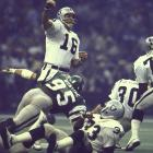 The 1970 Heisman Trophy winner was destined to be remembered as a big-time bust. That all changed on a single Sunday afternoon at the Superdome, when Plunkett shredded the heavily favored Eagles and their top-ranked scoring defense 27-10 with an MVP-winning effort  highlighted by a then-Super Bowl record 80-yard TD toss to Kenny King. Plunkett's performance was, at the time, the best statistical game by any quarterback in the Super Bowl (as measured by passer rating). He also became the first QB to lead a team to four victories in the same postseason.