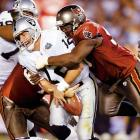 Gannon set an NFL record with 10 300-yard outings in 2002, on his way to league MVP honors. But deciphering the Oakland offense proved mere child's play for Tampa head man Jon Gruden, who had led the Raiders the year before. Gannon collapsed like the Bay Bridge in a major earthquake against his old coach, throwing a Super Bowl-record five interceptions -- three of which were returned for TDs in the 48-21 loss. The Oakland organization has never recovered.