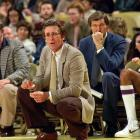 Lakers head coach Pat Riley and assistant coach Jerry West take in the action.