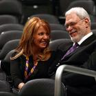 Phil Jackson enjoys a moment with Executive Vice President of Business Operations Jeanie Buss during an off-day in 2008.