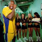Shaquille O'Neal fakes crying after being presented with a 30th birthday cake from the Laker Girls.