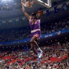 Having already wrapped up the title because of Larry Johnson's missed dunks in the finals, Ceballos nevertheless finished with a bang as he ran about 60 feet downcourt and completed a blindfolded slam that registered a 50.