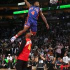 The 5-foot-9 Knicks guard missed attempt after attempt but defeated Andre Iguodala in a dunk-off for a controversial victory.