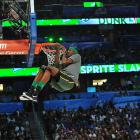 The 2012 contest lacked the big names and impressive dunks, but there was no shortage of props. In the end, Utah Jazz forward Jeremy Evans, who was a replacement for the injured Iman Shumpert, won it all. Evans wore an eye camera during his first dunk so viewers could get a rim-level view.