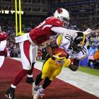 After getting behind the Cardinals but failing to haul in a touchdown reception on the previous play, Santonio Holmes got behind the defense in the opposite corner and held on for the decisive score in the Steelers 27-23 victory.