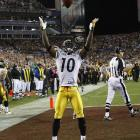 The Pittsburgh wideout celebrated his touchdown catch by mimicking LeBron James' toss.