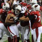 The Cardinals celebrated their first lead of the game after Larry Fitzgerald's 64-yard catch and run made it 23-20.