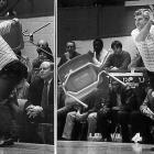 During a game against Purdue, Indiana basketball coach Bobby Knight throws a chair to protest a referee's call. Knight was suspended for one game and received two years' probation from the Big Ten Conference.